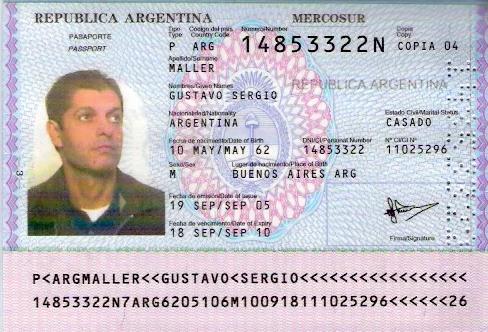 Образец аргентинского паспорта