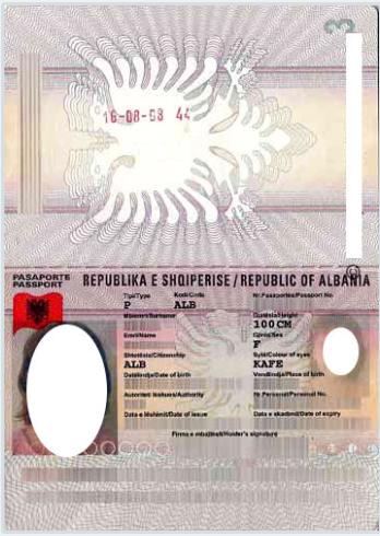 Образец албанского паспорта