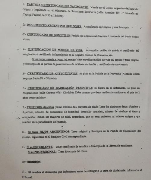 Документы для по подачи заявления на аргентинское гражданство
