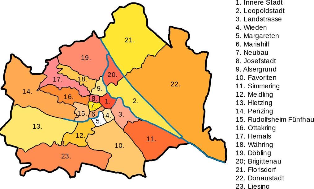 Карта районов в Вене