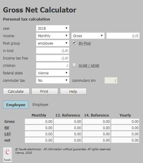 Онлайн калькулятор зарплат Австрии